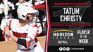 Tatum Christy Named Horizon League Softball Player of the Week